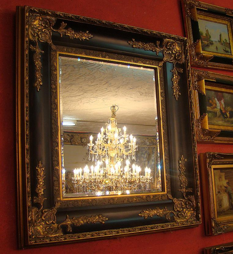 barock spiegel mit facettenschliff 97x83x8 ebay. Black Bedroom Furniture Sets. Home Design Ideas