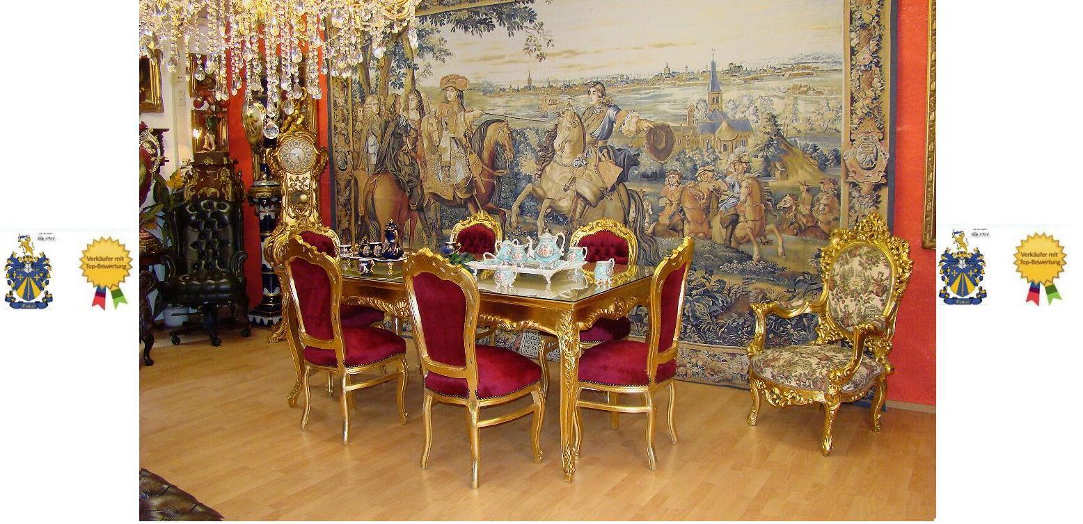 barock esszimmer- tisch + 6 stühle | ebay