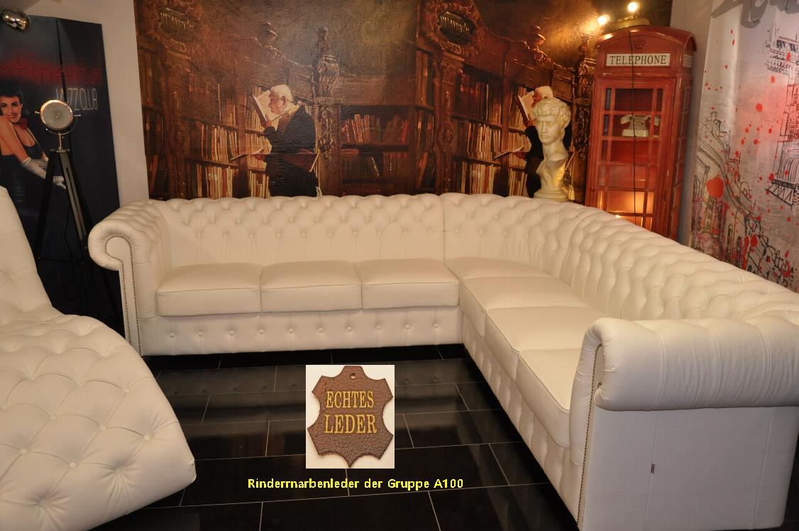 chesterfield garnitur 280x280 ecke wei echt leder 2019 ebay. Black Bedroom Furniture Sets. Home Design Ideas