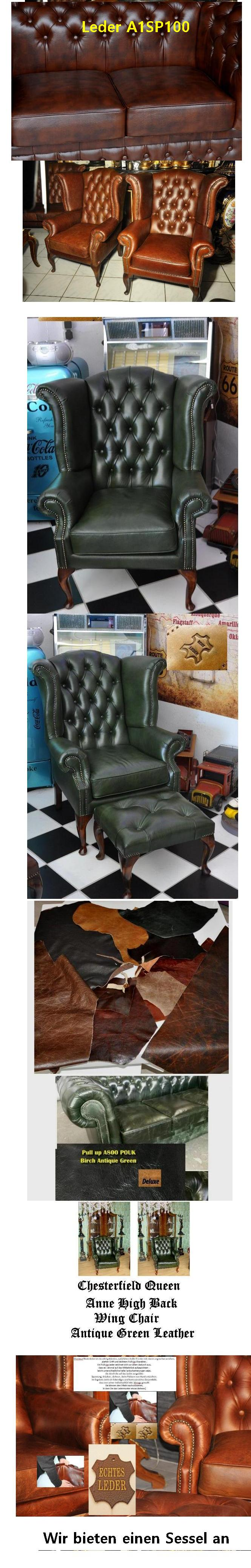 Chesterfield Queen Anne Ohrensessel De Luxe Pull Up Aniline Vintage ...